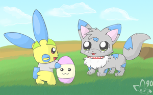 Easter Minun by pichu90