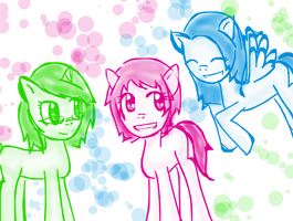 Me and my friends as ponies by VocaloidxNikoorux20