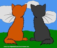 Firestar and Graystripe back by DemonicVampyreWolf