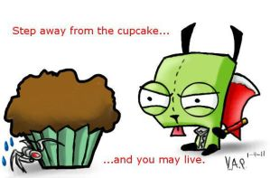 Gir protective of his cupcake by Dragon260