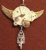Steampunk watch face with wing by Lucky978