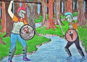 Percy defeating Clarisse by talita-rj