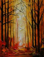 Orange path by Leonid Afremov by Leonidafremov