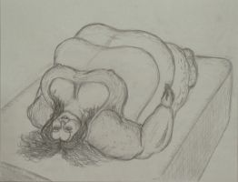 Sketch of a SSBBW laying on-top of a bed mattress by ENT2PRI9SE