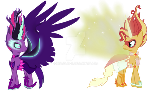 Midnight sparkle and Daydream Shimmer by AskShootingStar1234