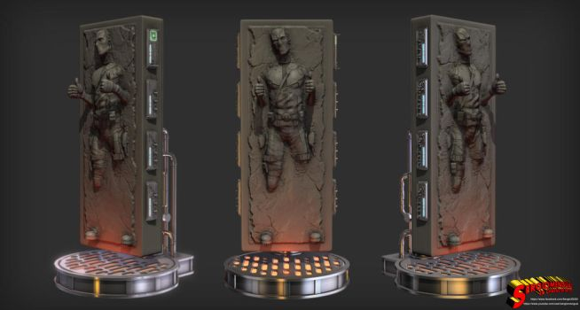 Deadpool in Carbonite 1/4 Statue for 3D printing by SergioMengual2012