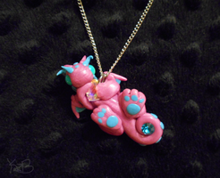 Pink and Blue Dragon Necklace by KatzeBlue