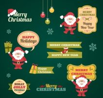 Vintage Christmas stickers collection by freebiespsd