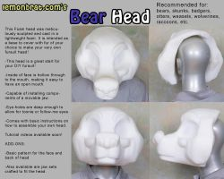 Bear Fursuit Head Base by lemonbrat