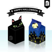 Halloween Party Printable - Favor Box - Black Cat by MicaPrintables