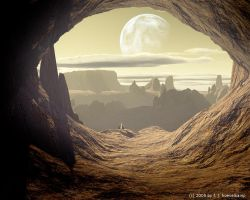a cave on a desert planet by hoevelkamp