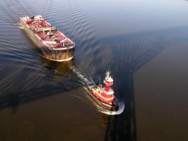 Tug and Barge - Walkway Shadow by TheMightyQuinn