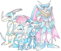 Veemon family line by MiniDragonfly