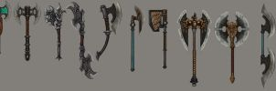 Dwarf axes concept by NightmareMoonLuna