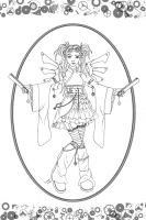 Steampunk Angel Line-art by Karla-Chan