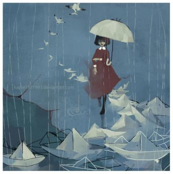 Paper Boats in rain by kapie1571993