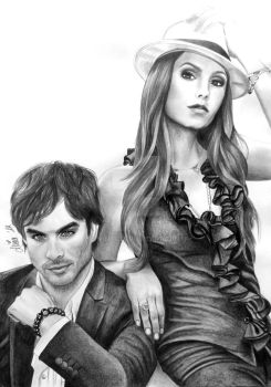 Nina Dobrev and Ian Somerhalder by Mim78