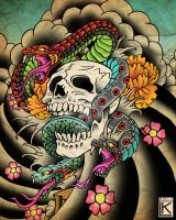 Snakes on a Skull by larsonkilstrom