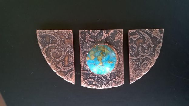 WIP copper plaque by Hawkston