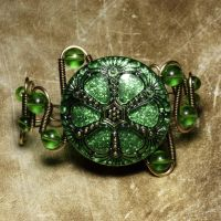 Steampunk Bracelet GreenUrchin by CatherinetteRings