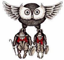 Owl with two people surreal pen ink drawing by Vitogoni