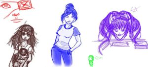 Girl Sketches 02 by WillowKid
