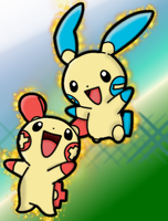 Plusle and Minun!!! :D by Sonic-Shadow-Silver4