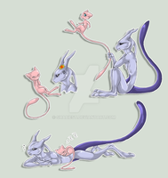 Mew + Mewtwo by Shadow-of-Destiny