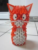3D Origami Cat by Duskysunset