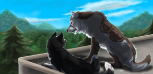 . Maria and Leo . Date on the roof by ShadowCatsKey