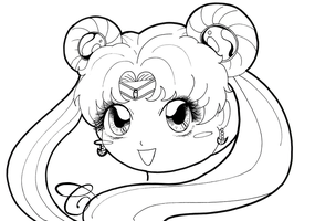 Sailor Moon chibi portrait by Chibivi-Linearts