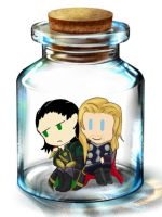 Thor and Loki in a bottle by xXMedi-Viper-RoseXx