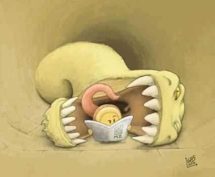 Maze Worm eating a biscuit by psychoduck