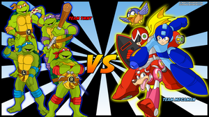Team TMNT VS Team Megaman by Sauron88