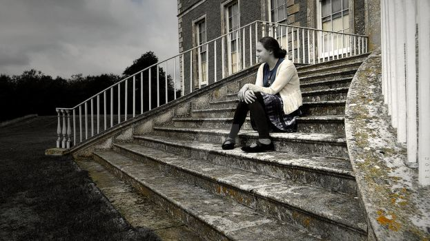 Girl on Stone Steps by effectrode