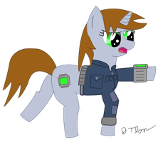 Littlepip point by cuttincows