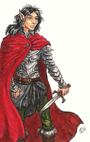 Gorath in a red cloak by Kaytara