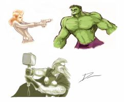 Avengers sketches by Dantooine