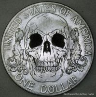 Hand Engraved Skull and Scroll Dollar by shaun750