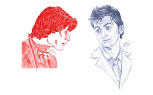Ten and Eleven - David Tennant and Matt Smith by WoodsieWood