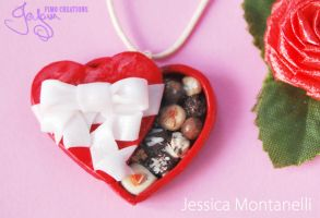Heart Chocolate Box - Necklace by Jeyam-PClay