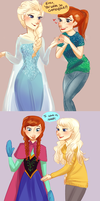 Frozen Actor!AU- Trying on the Costumes by maybelletea