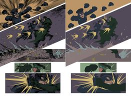 green hornet and kato sparring Flats by alexasrosa