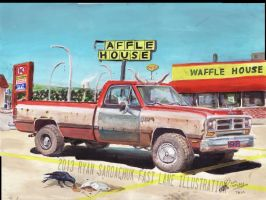 The Regular Customer (87 Dodge Power Ram Painting) by FastLaneIllustration
