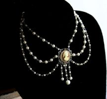 White Pearl Cameo Necklace II by FxSolya
