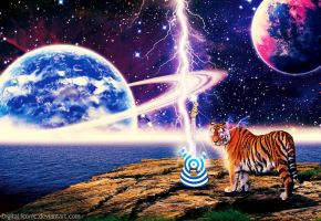 Space, Music, Tigers by Digital-Iconic