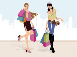 Fashion Shopping Girls Vector by Pixeden