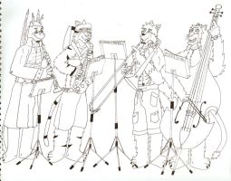 Mixed Quartet Lineart by timmylois2