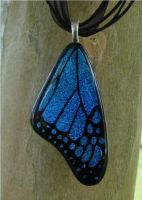 Blue Fused Glass Butterflywing by FusedElegance