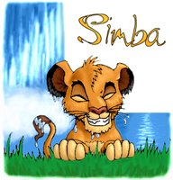 Grinning Simba by kittychasesquirrels